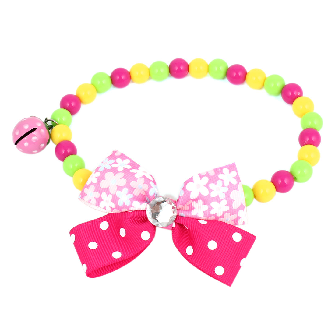 Metal Bell Pendant Bowtie Accent Pet Dog Plastic Round Beads Collar Necklace Assorted Color M