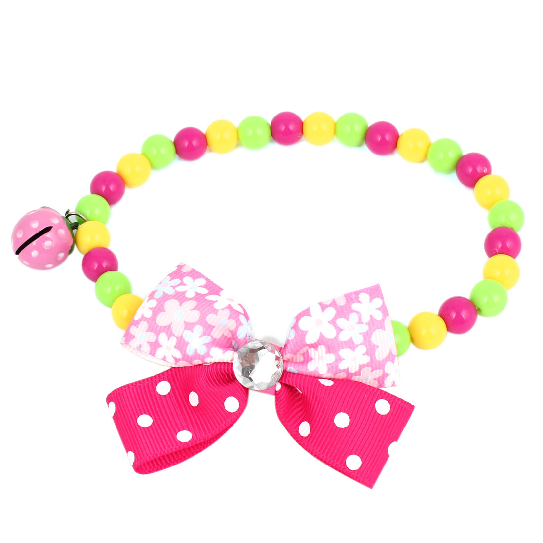Metal Bell Pendant Bowtie Accent Pet Dog Plastic Round Beads Collar Necklace Assorted Color L