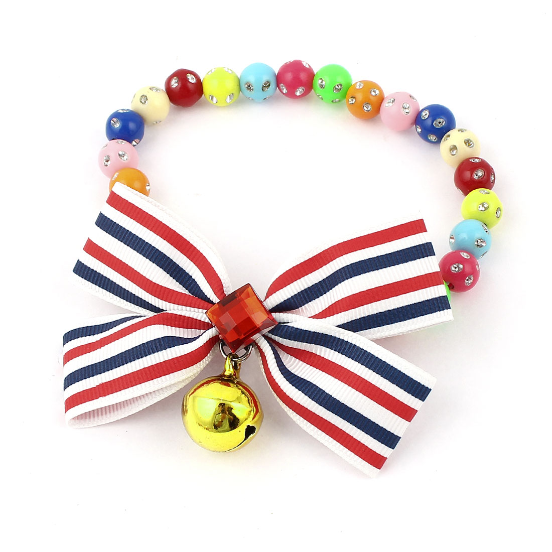 Faux Crystal Bowtie Accent Pet Dog Plastic Beads Collar Necklace Assorted Color XS