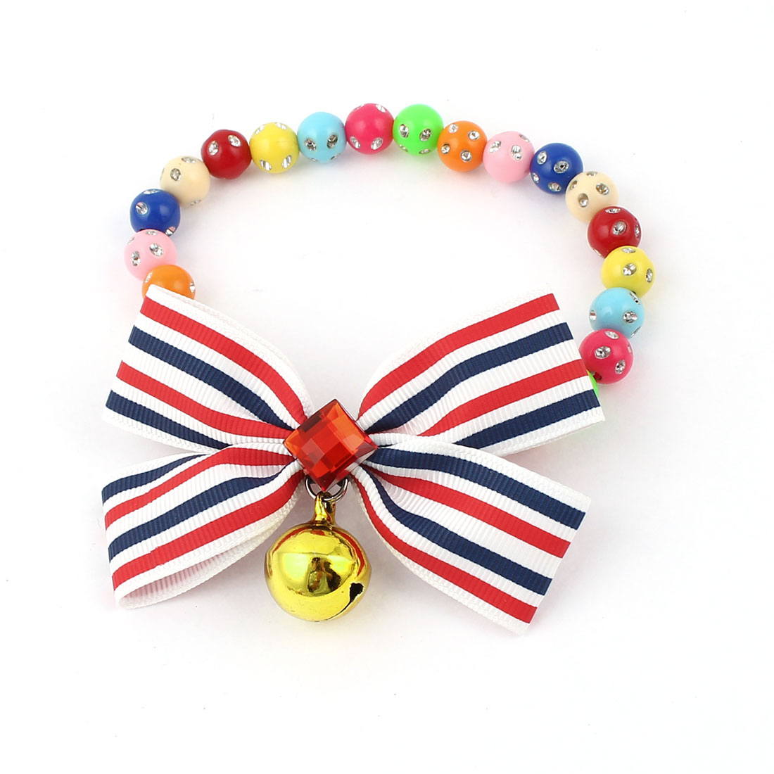 Faux Crystal Bowtie Accent Pet Dog Plastic Beads Collar Necklace Assorted Color S