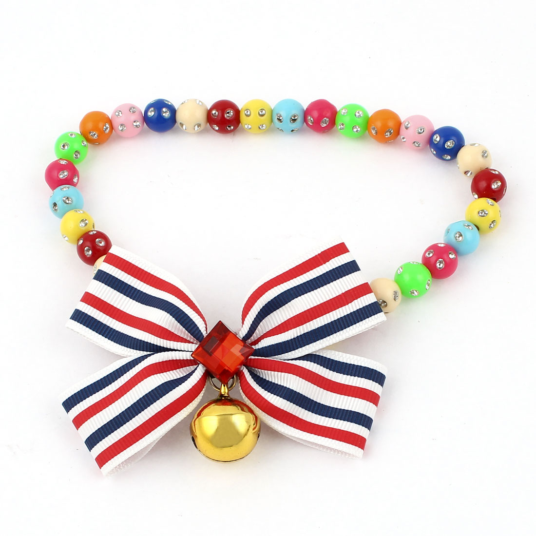 Faux Crystal Bowtie Accent Pet Dog Plastic Beads Collar Necklace Assorted Color M
