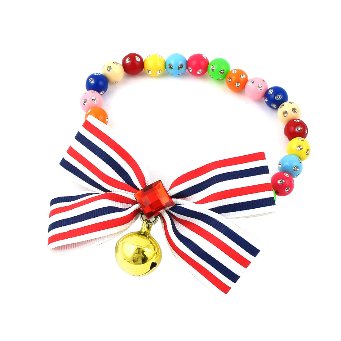 Faux Crystal Bowtie Accent Pet Dog Plastic Beads Collar Necklace Assorted Color L