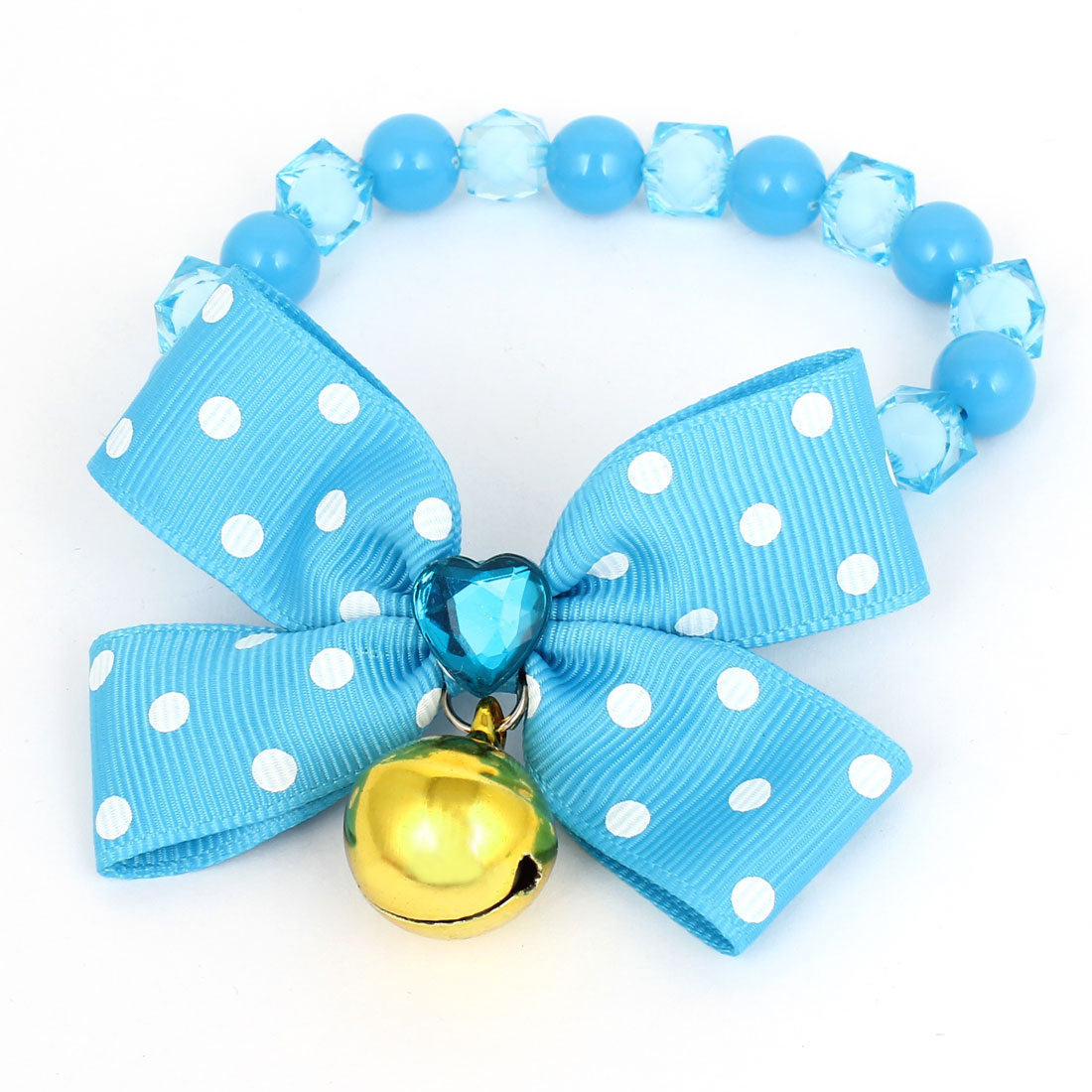 Metal Bell Pendant Bowtie Accent Pet Dog Plastic Beads Collar Necklace Blue XS