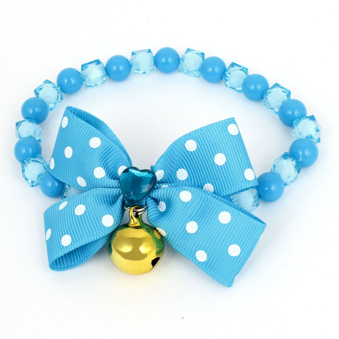 Metal Bell Pendant Bowtie Accent Pet Dog Plastic Beads Collar Necklace Blue S