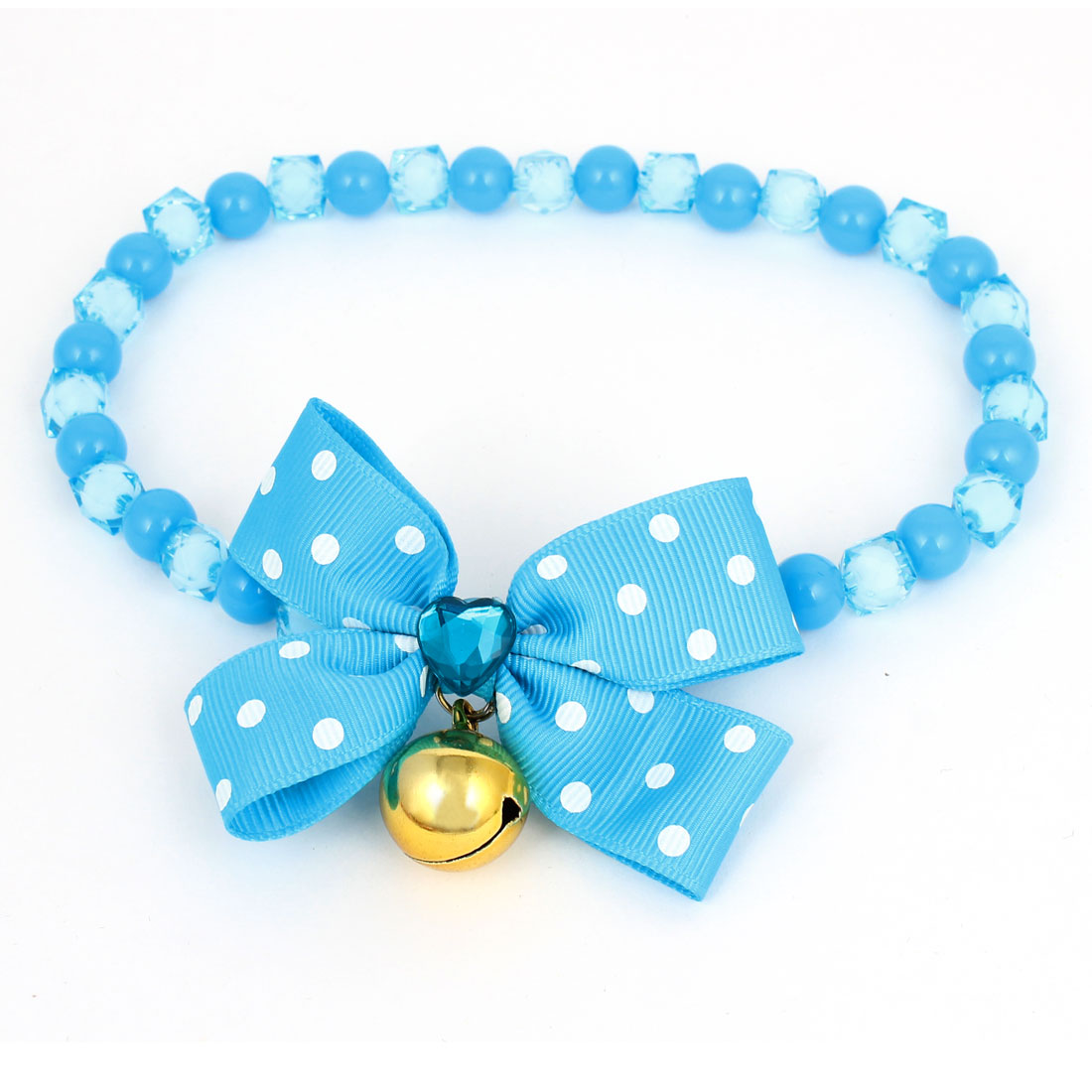 Metal Bell Pendant Bowtie Accent Pet Dog Plastic Beads Collar Necklace Blue L