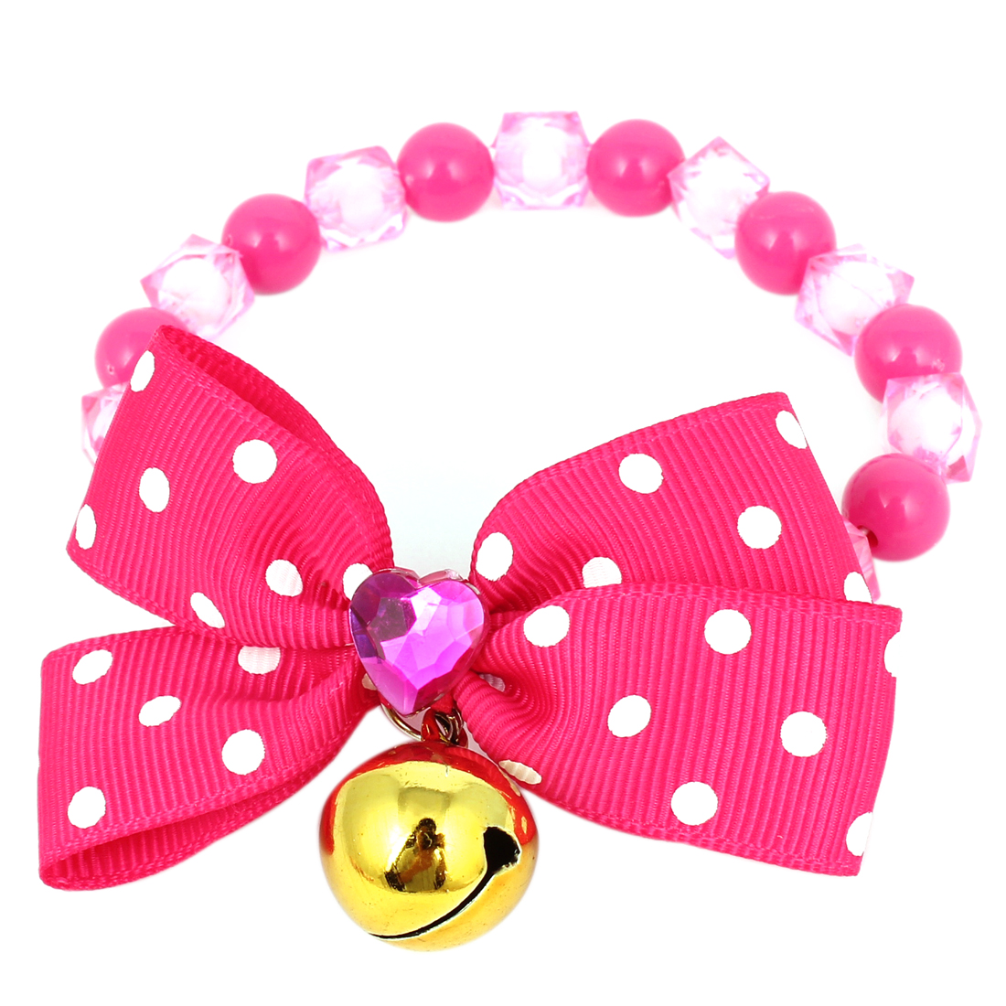 Metal Bell Pendant Bowtie Accent Pet Dog Plastic Beads Collar Necklace Fuchsia XS
