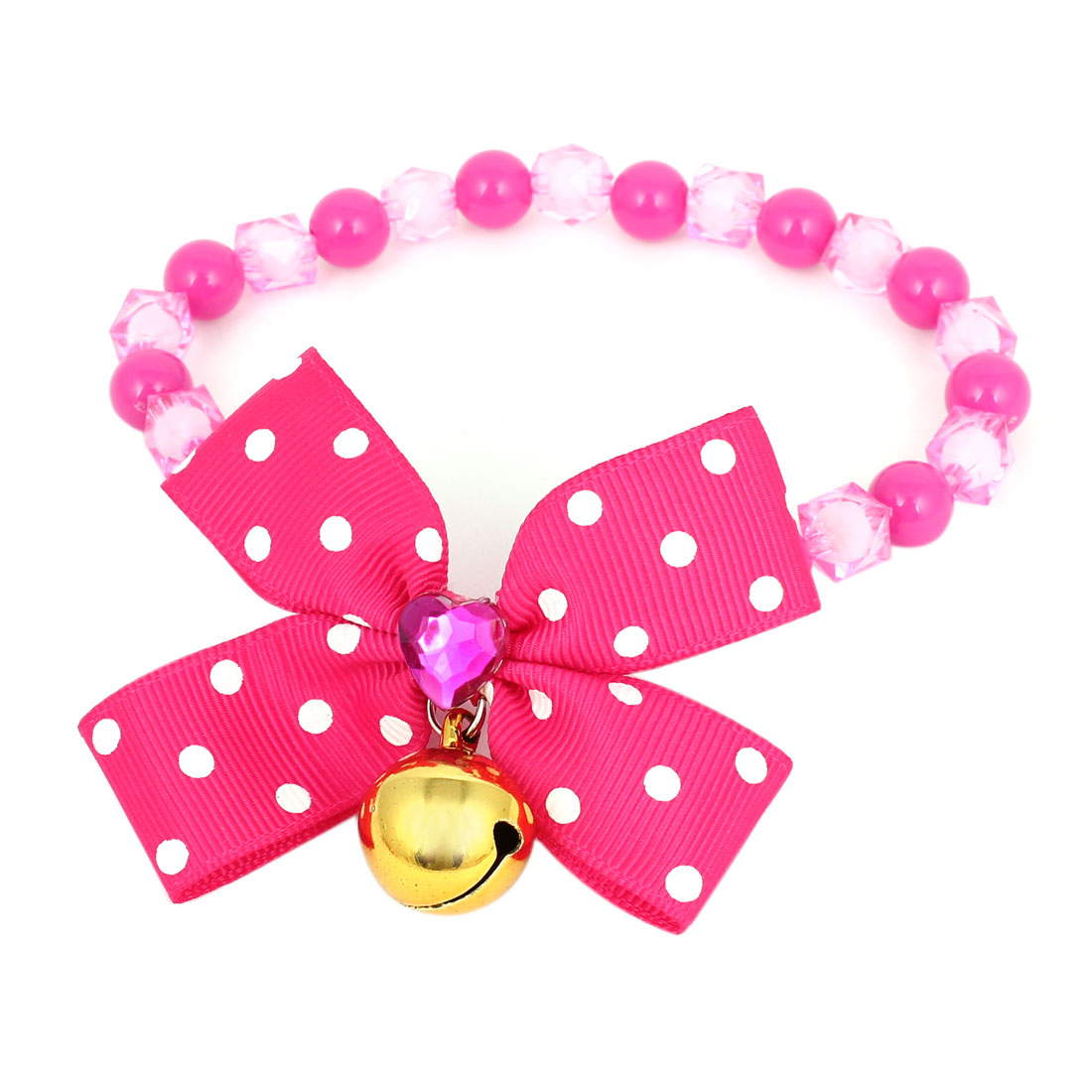 Metal Bell Pendant Bowtie Accent Pet Dog Plastic Beads Collar Necklace Fuchsia S