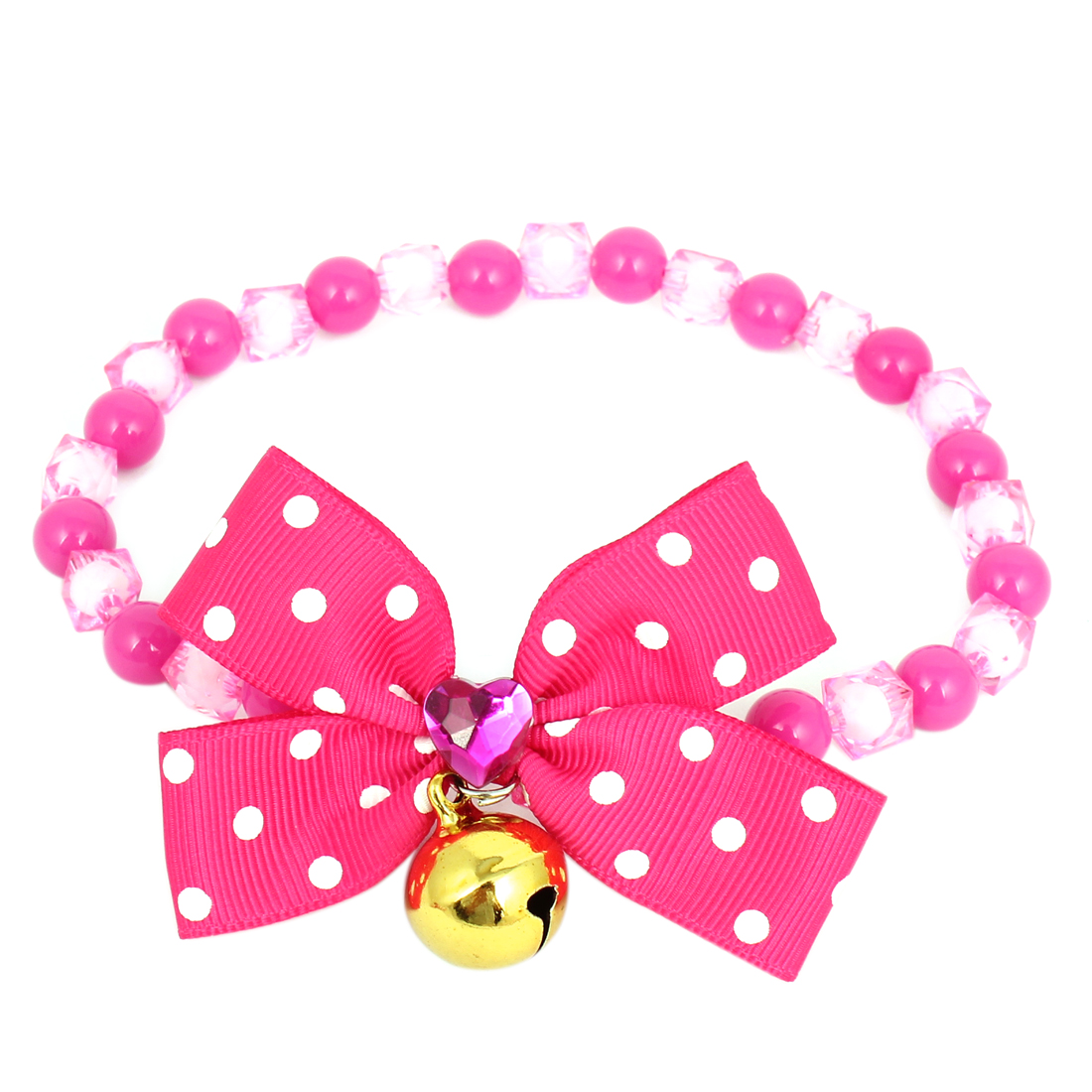 Metal Bell Pendant Bowtie Accent Pet Dog Plastic Beads Collar Necklace Fuchsia M