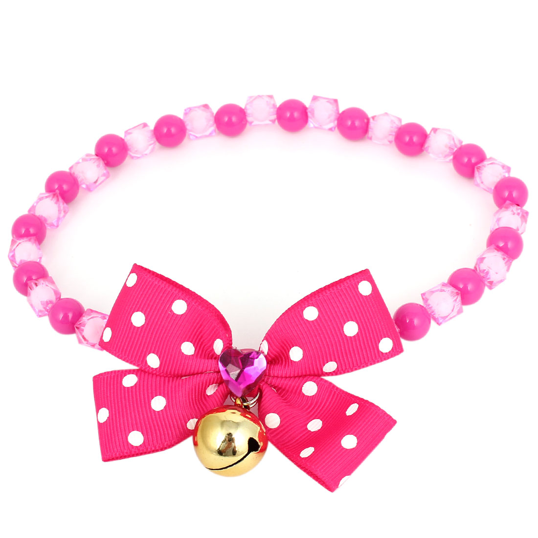 Metal Bell Pendant Bowtie Accent Pet Dog Plastic Beads Collar Necklace Fuchsia L