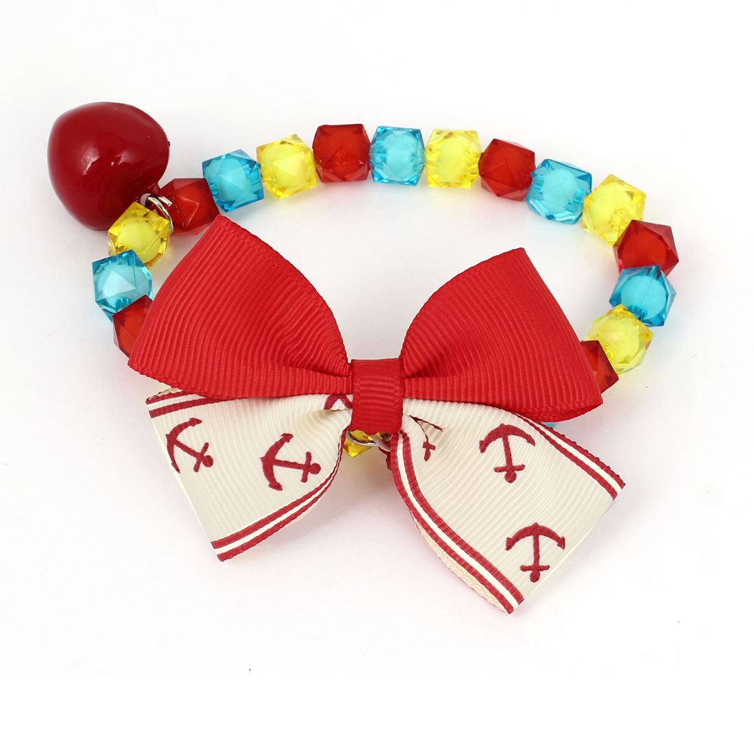 Metal Bell Pendant Bowtie Accent Pet Dog Plastic Faceted Beads Collar Necklace Assorted Color XS
