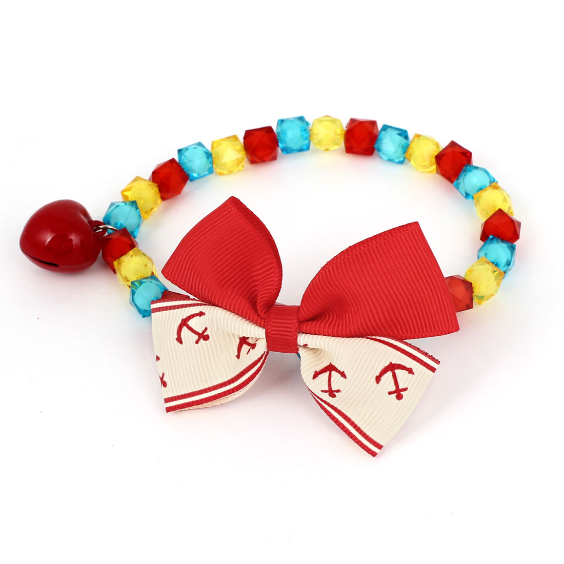 Metal Bell Pendant Bowtie Accent Pet Dog Plastic Faceted Beads Collar Necklace Assorted Color M