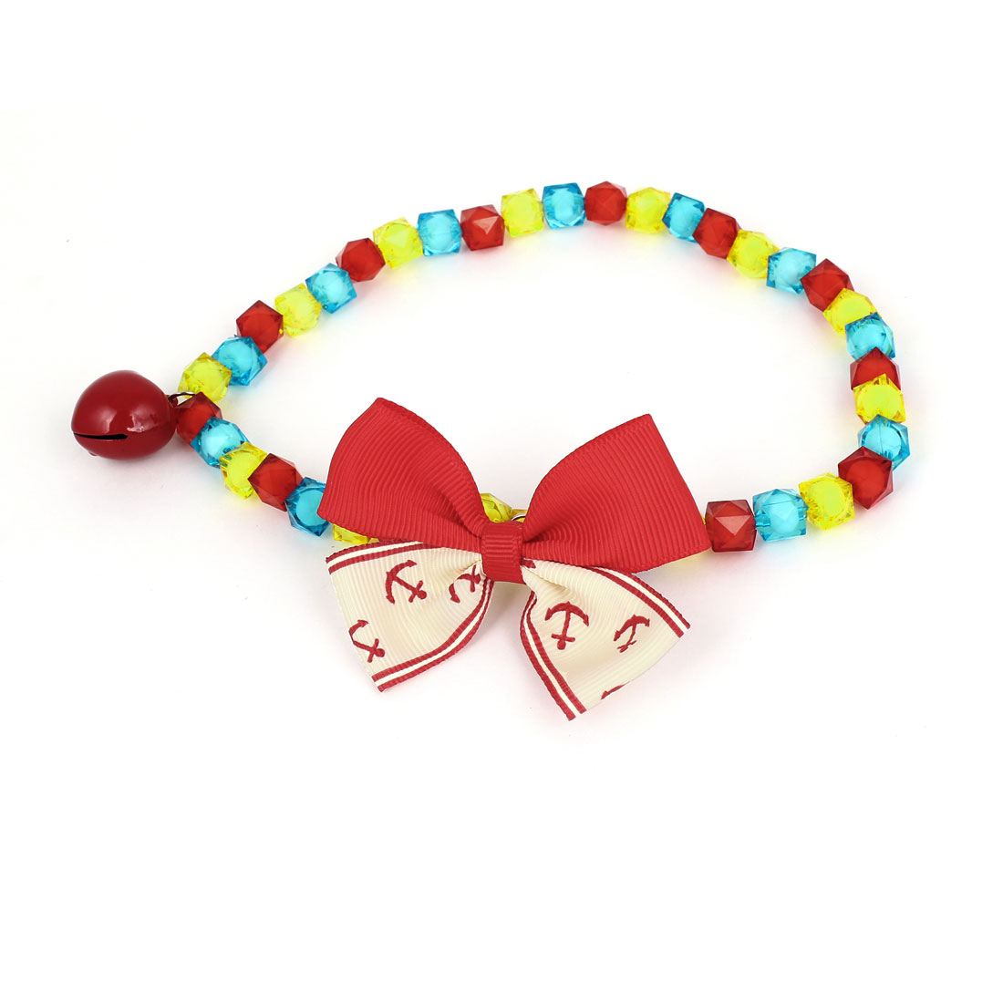Metal Bell Pendant Bowtie Accent Pet Dog Plastic Faceted Beads Collar Necklace Assorted Color L