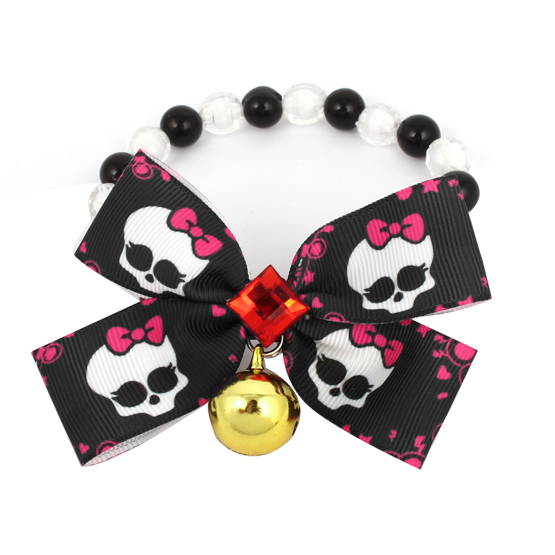 Metal Bell Pendant Bowtie Accent Pet Dog Plastic Beads Collar Necklace Black White XS