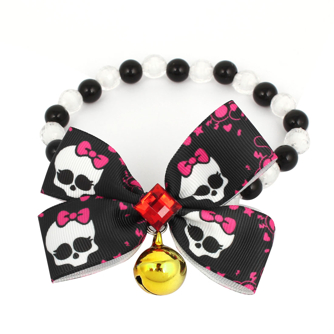 Metal Bell Pendant Bowtie Accent Pet Dog Plastic Beads Collar Necklace Black White S