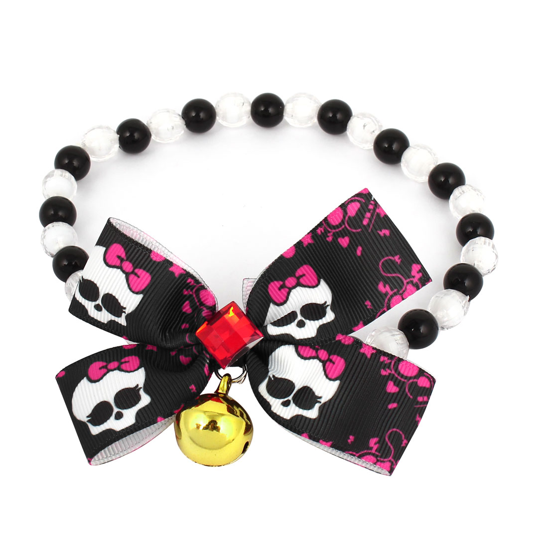 Metal Bell Pendant Bowtie Accent Pet Dog Plastic Beads Collar Necklace Black White M