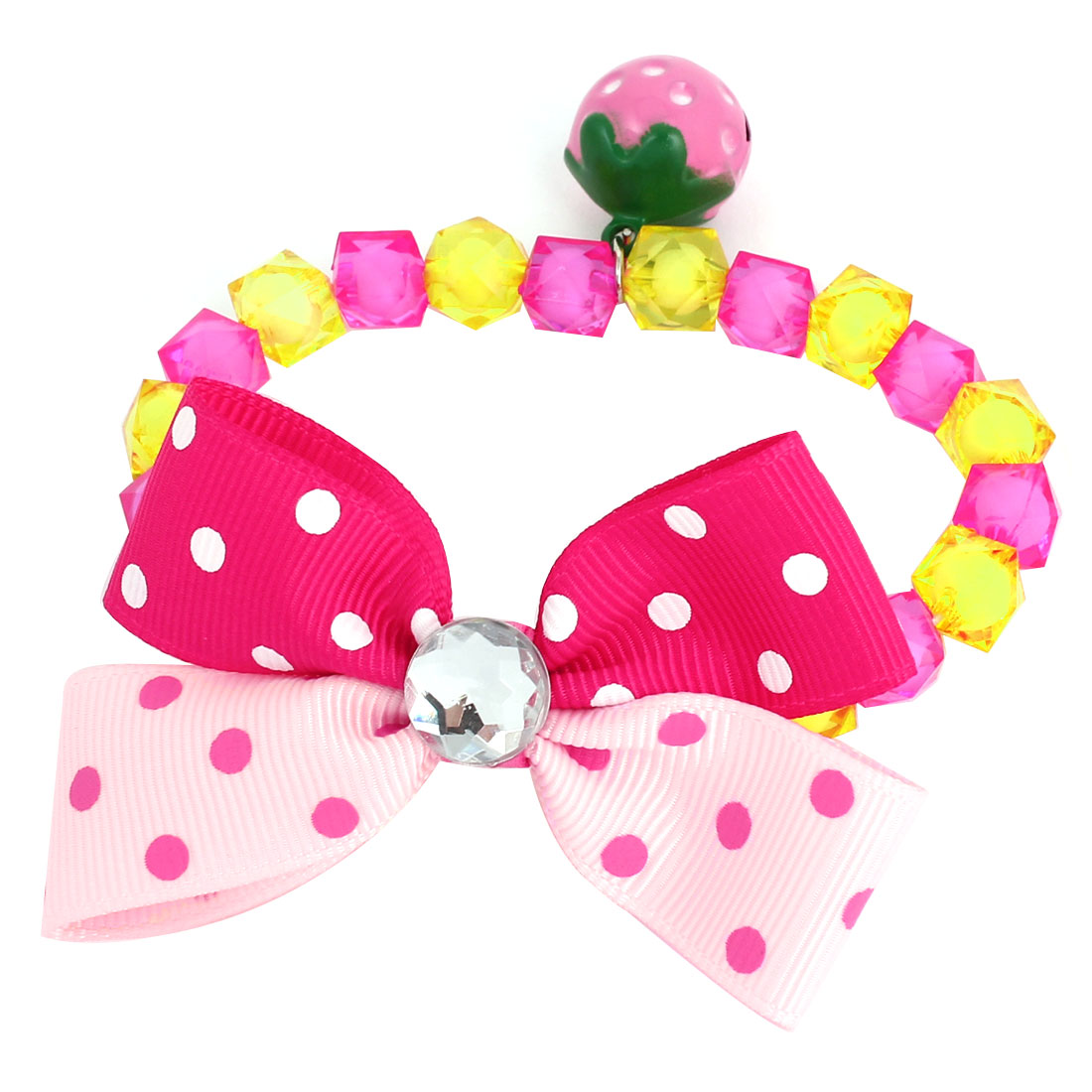 Metal Bell Pendant Bowtie Accent Pet Dog Plastic Beads Collar Necklace Fuchsia Yellow XS