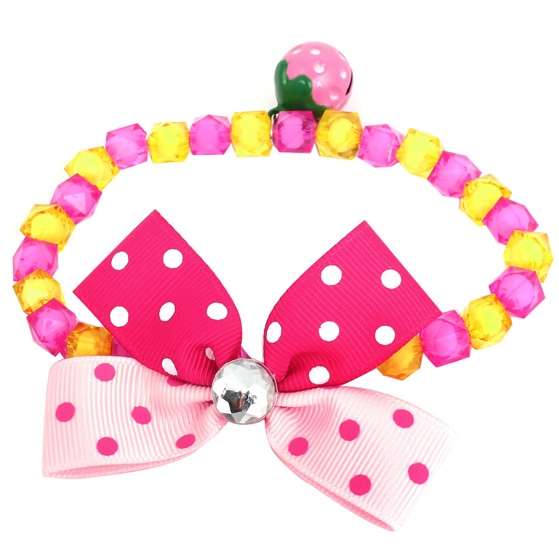Metal Bell Pendant Bowtie Accent Pet Dog Plastic Beads Collar Necklace Fuchsia Yellow S