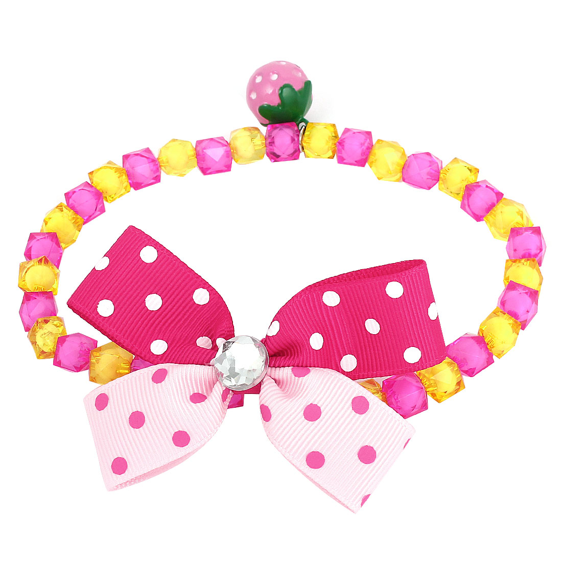 Metal Bell Pendant Bowtie Accent Pet Dog Plastic Beads Collar Necklace Fuchsia Yellow M