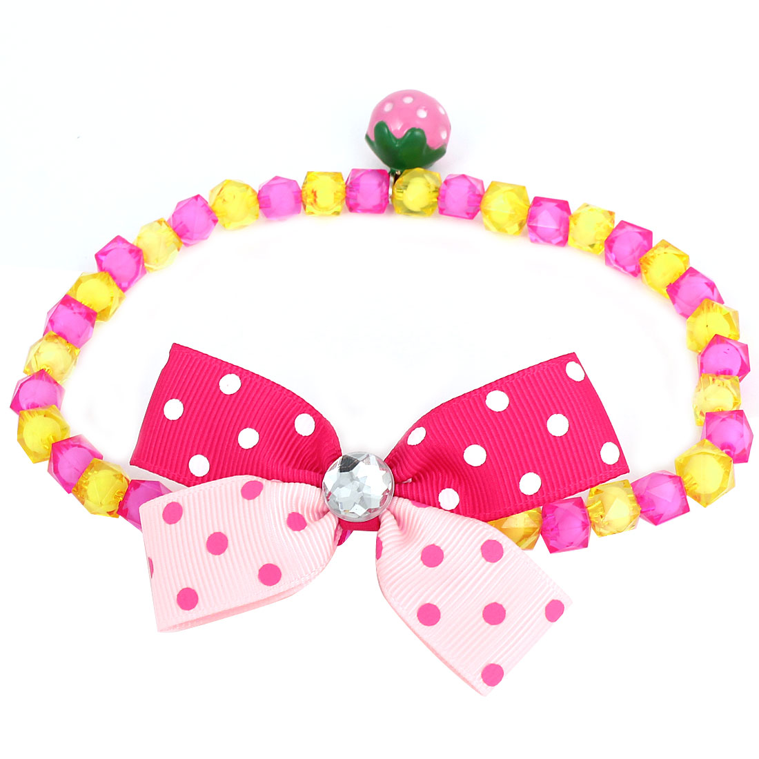 Metal Bell Pendant Bowtie Accent Pet Dog Plastic Beads Collar Necklace Fuchsia Yellow L