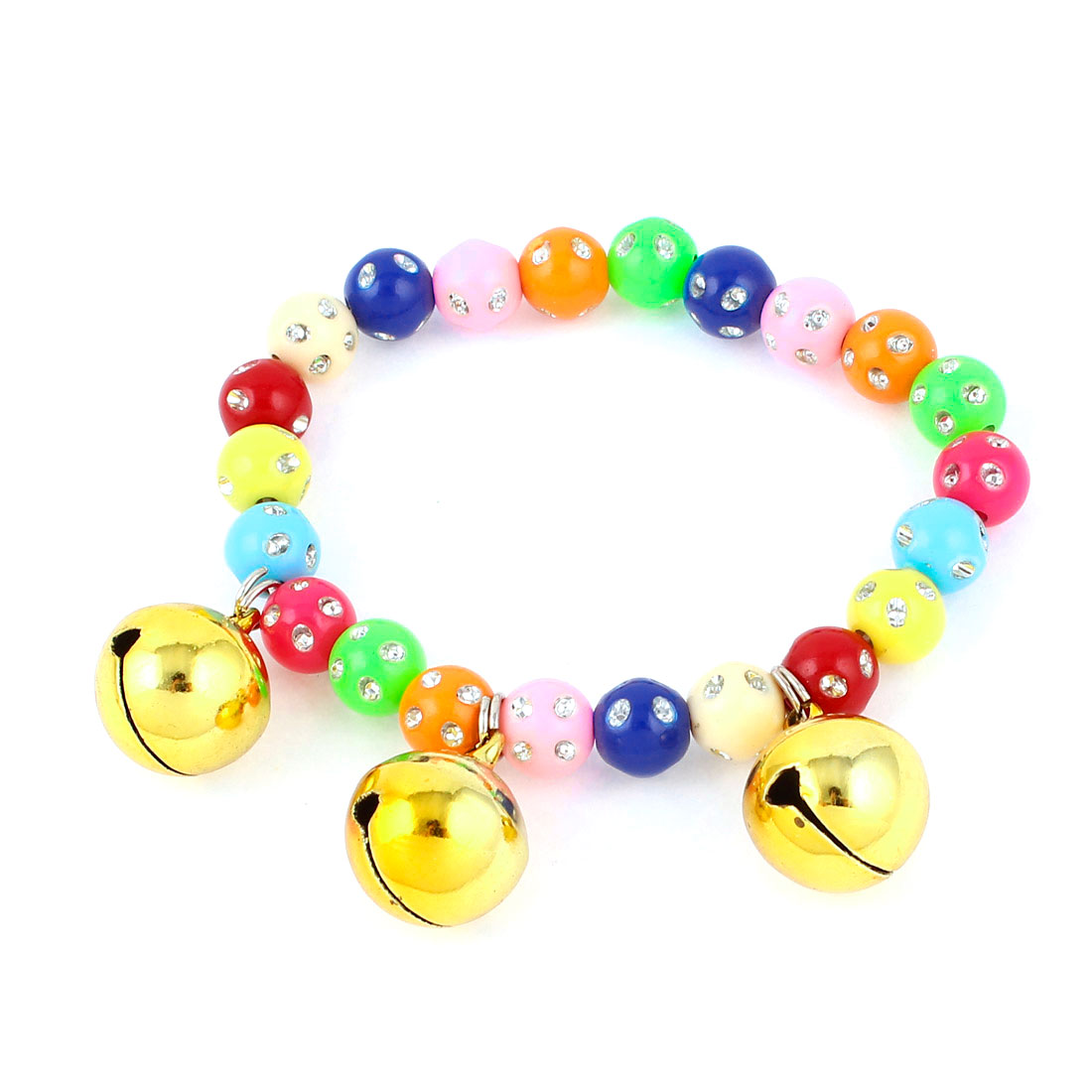 Faux Crystal Accent Pet Dog Plastic Round Beads Collar Necklace Assorted Color XS