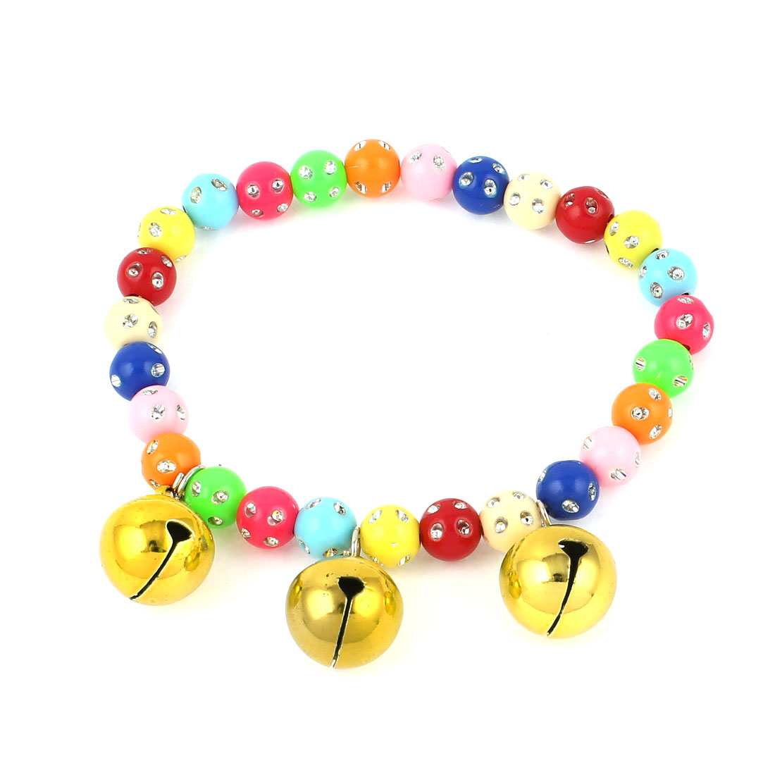 Faux Crystal Accent Pet Dog Plastic Round Beads Collar Necklace Assorted Color S