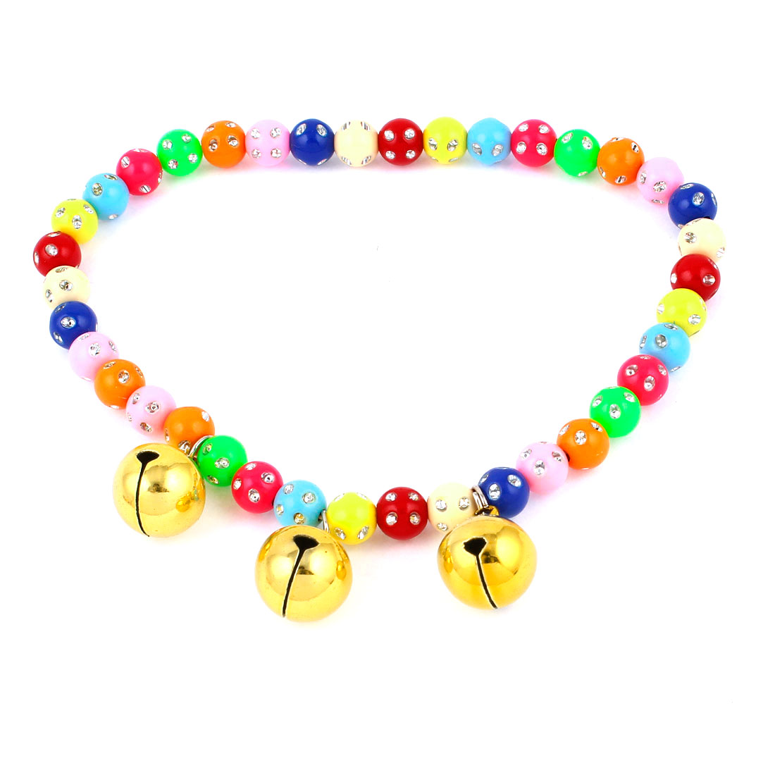 Faux Crystal Accent Pet Dog Plastic Round Beads Collar Necklace Assorted Color L