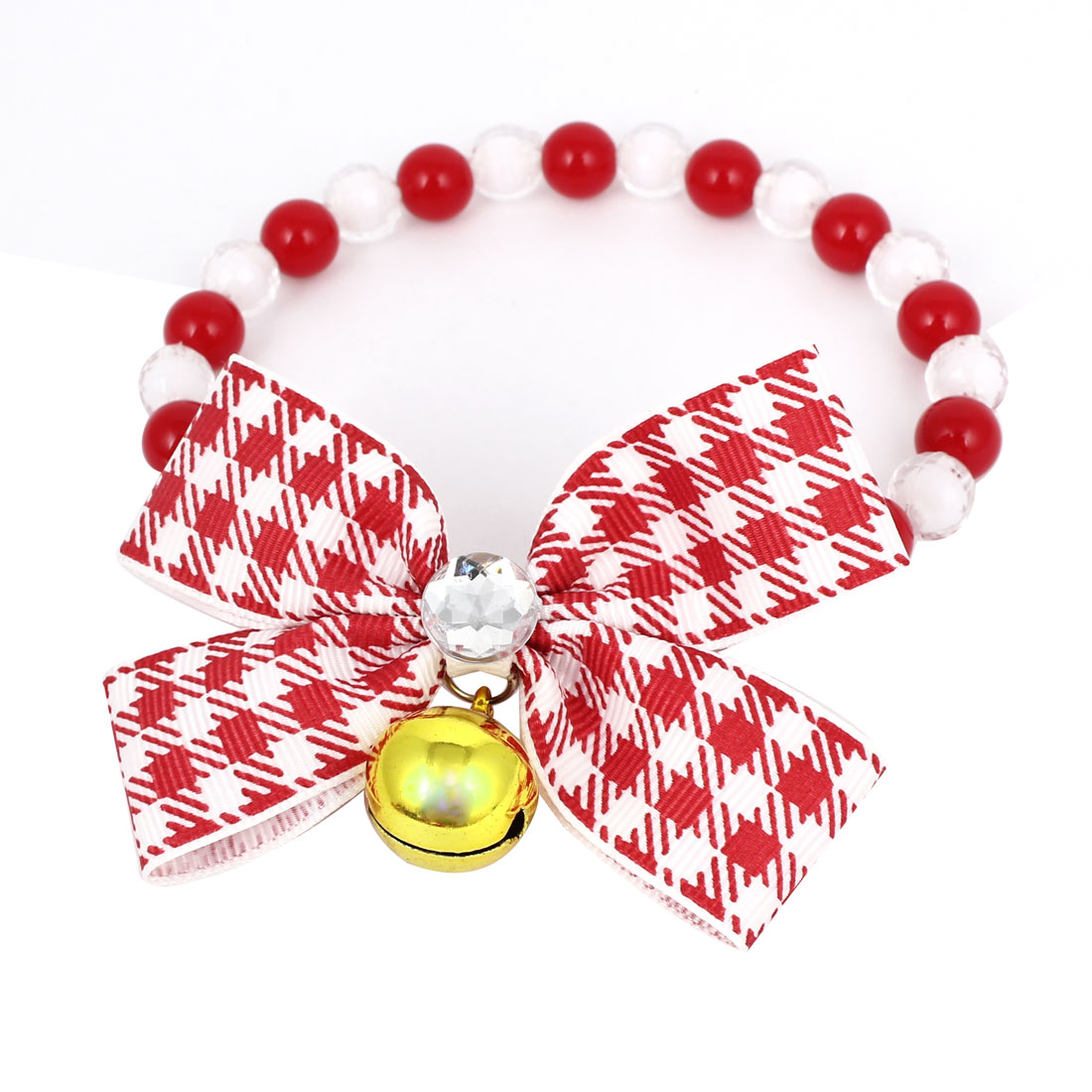 Metal Bell Pendant Bowtie Accent Pet Dog Plastic Beads Collar Necklace Red White XS
