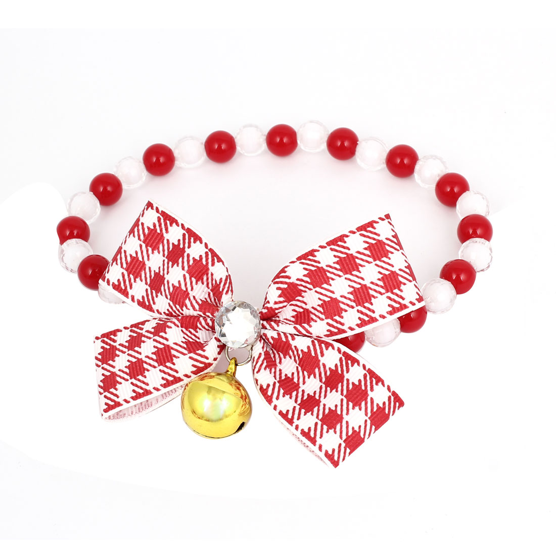 Metal Bell Pendant Bowtie Accent Pet Dog Plastic Beads Collar Necklace Red White M