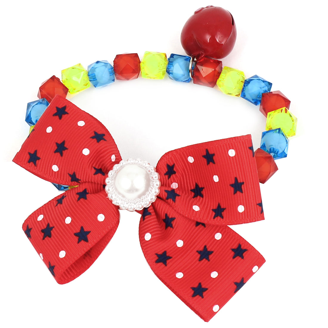 Metal Bell Pendant Bowtie Accent Pet Dog Plastic Faceted Beads Collar Necklace Multi Color XS