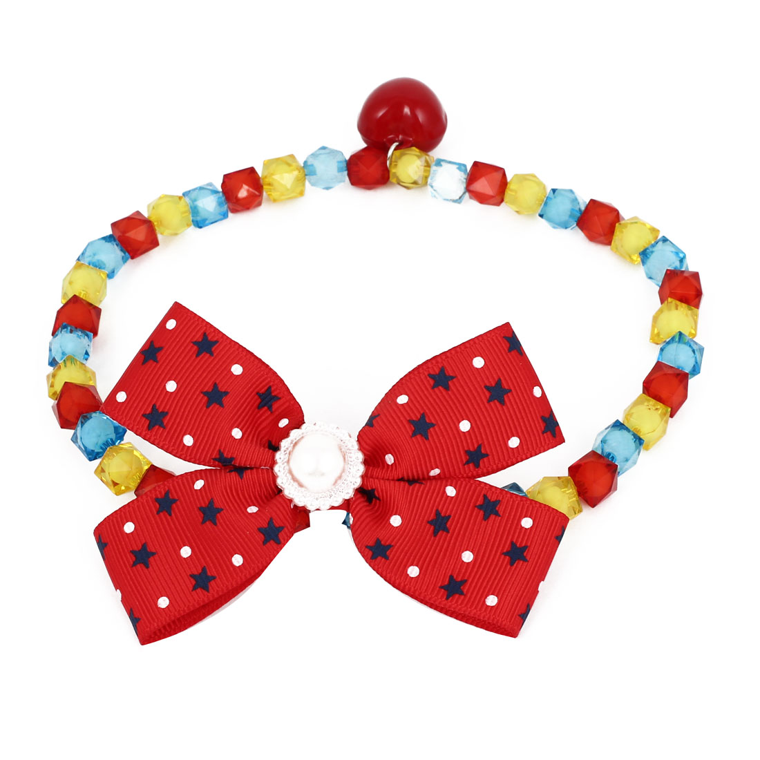Metal Bell Pendant Bowtie Accent Pet Dog Plastic Faceted Beads Collar Necklace Multi Color M