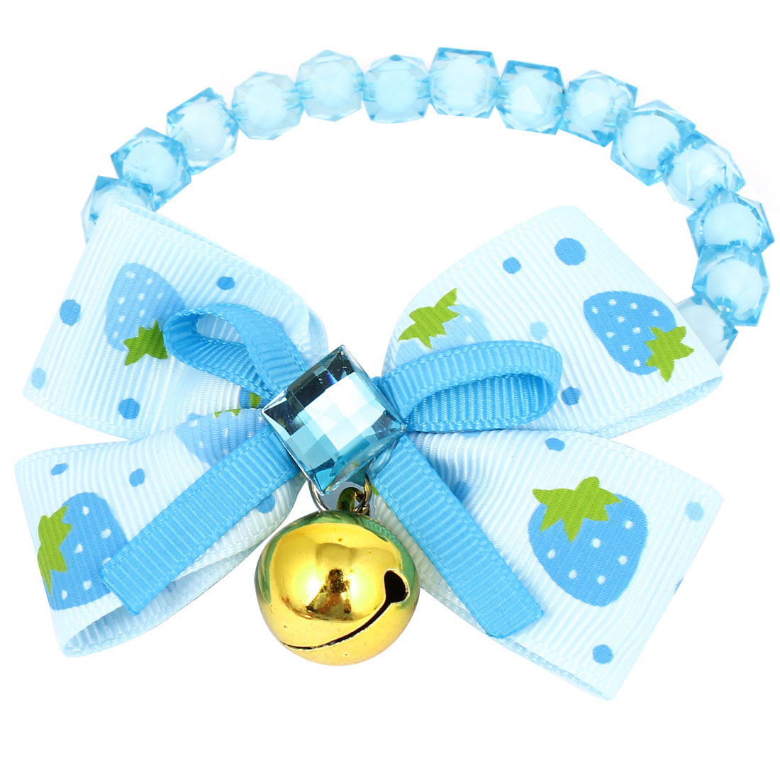 Metal Bell Pendant Bowtie Accent Pet Dog Faceted Beads Collar Necklace Blue White XS