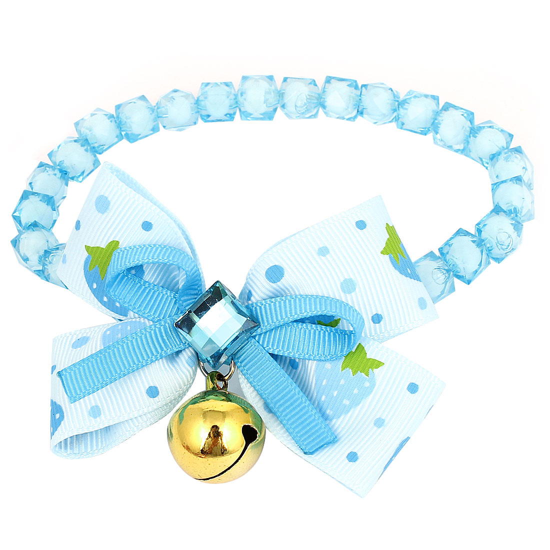 Metal Bell Pendant Bowtie Accent Pet Dog Faceted Beads Collar Necklace Blue White S
