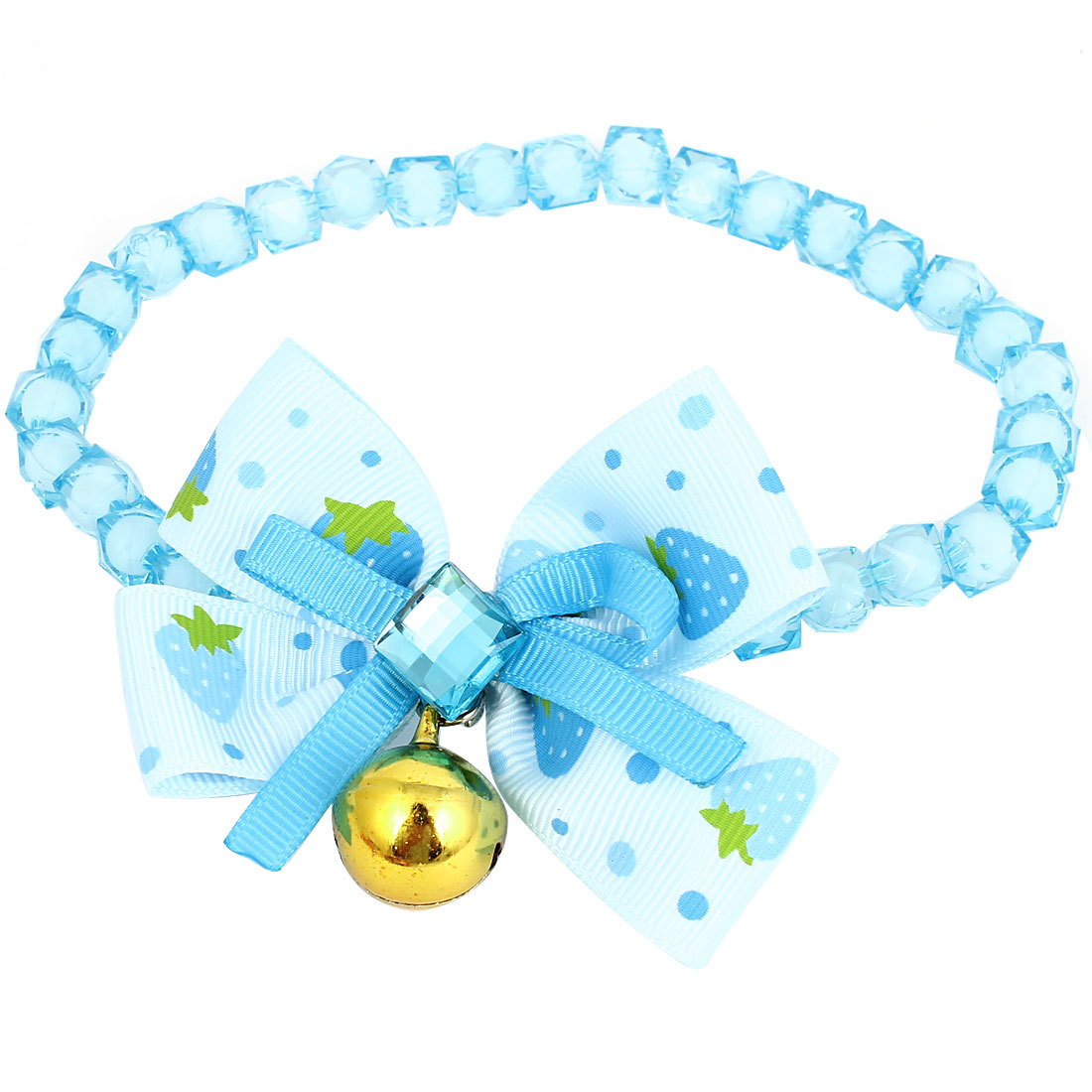 Metal Bell Pendant Bowtie Accent Pet Dog Faceted Beads Collar Necklace Blue White M