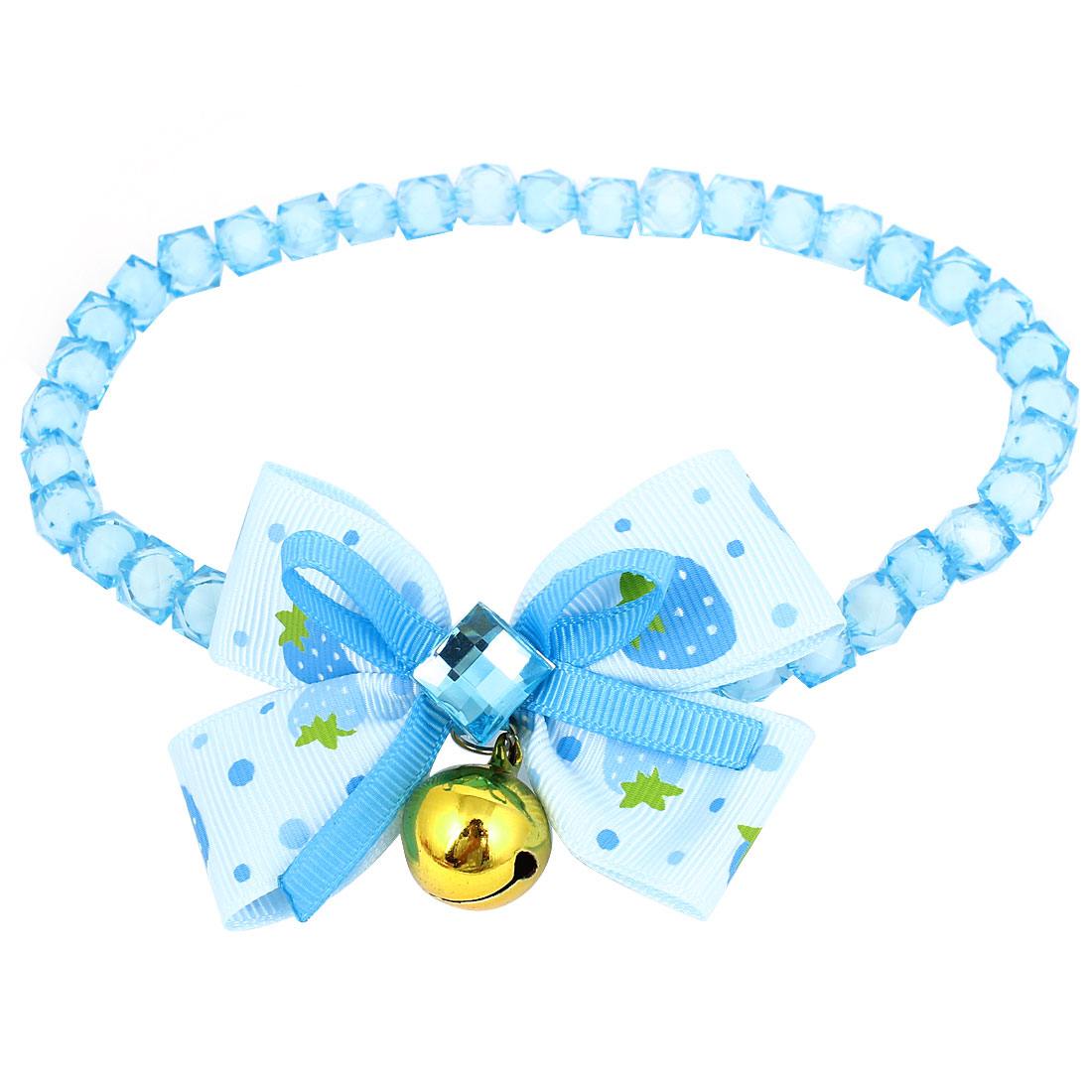 Metal Bell Pendant Bowtie Accent Pet Dog Faceted Beads Collar Necklace Blue White L