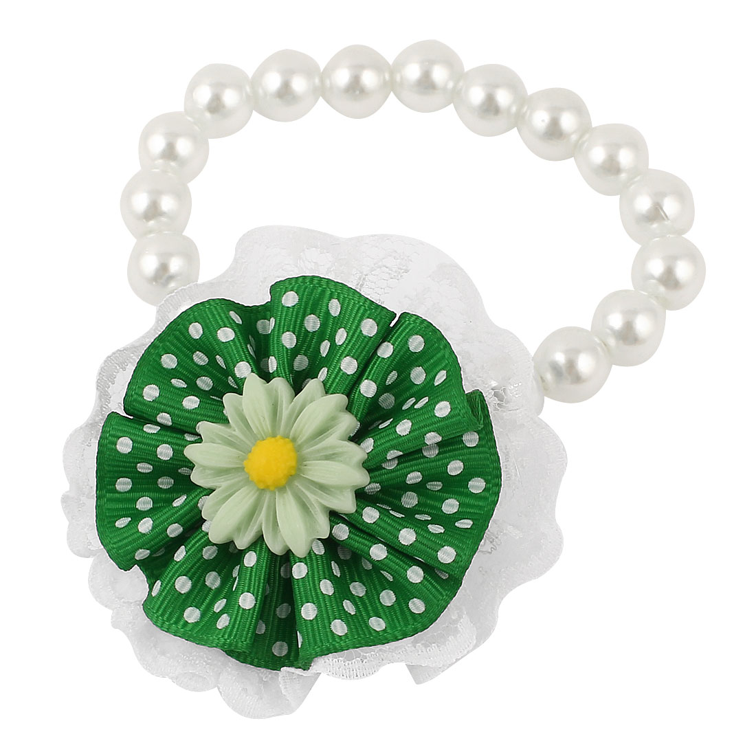 Lace Green Flower Accent Pet Dog Plastic Beads Pearls Collar Necklace White XS