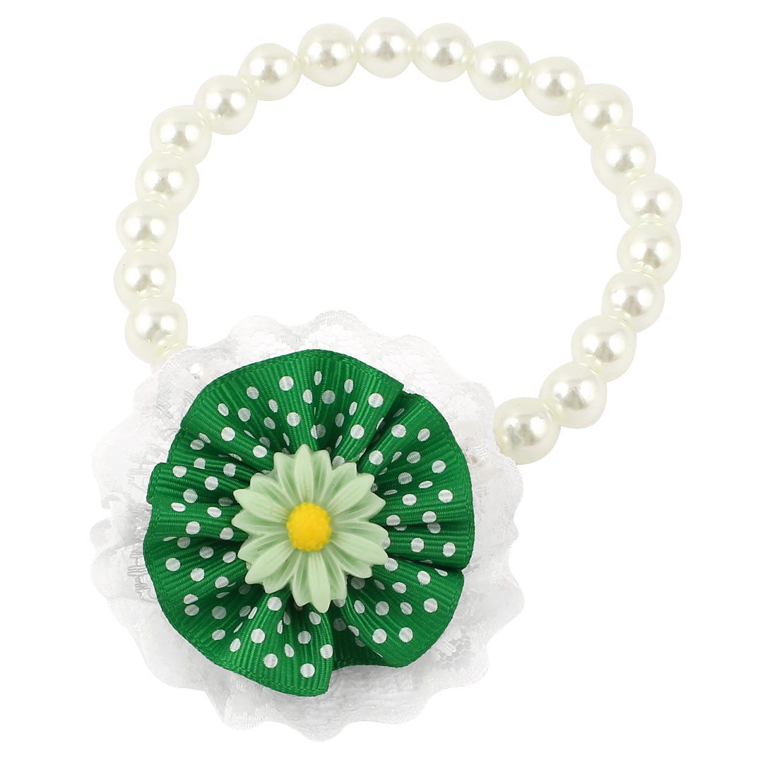 Lace Green Flower Accent Pet Dog Plastic Beads Collar Necklace White S