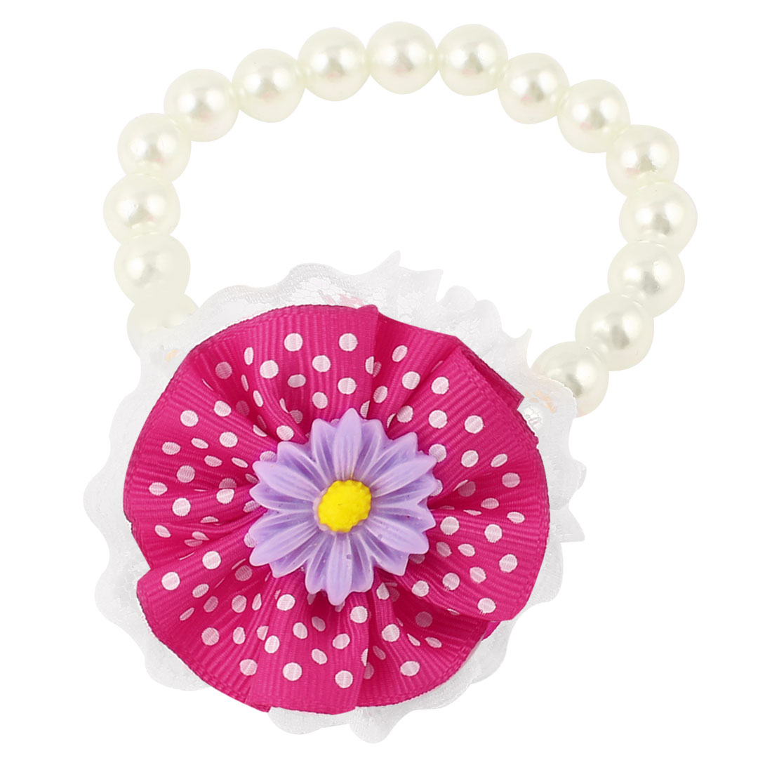 Lace Fuchsia Flower Accent Pet Dog Plastic Imitation Pearls Collar Necklace White XS