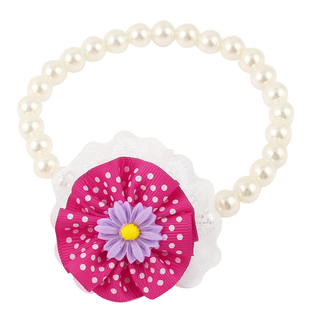 Lace Fuchsia Flower Accent Pet Dog Plastic Beads Pearls Collar Necklace White S