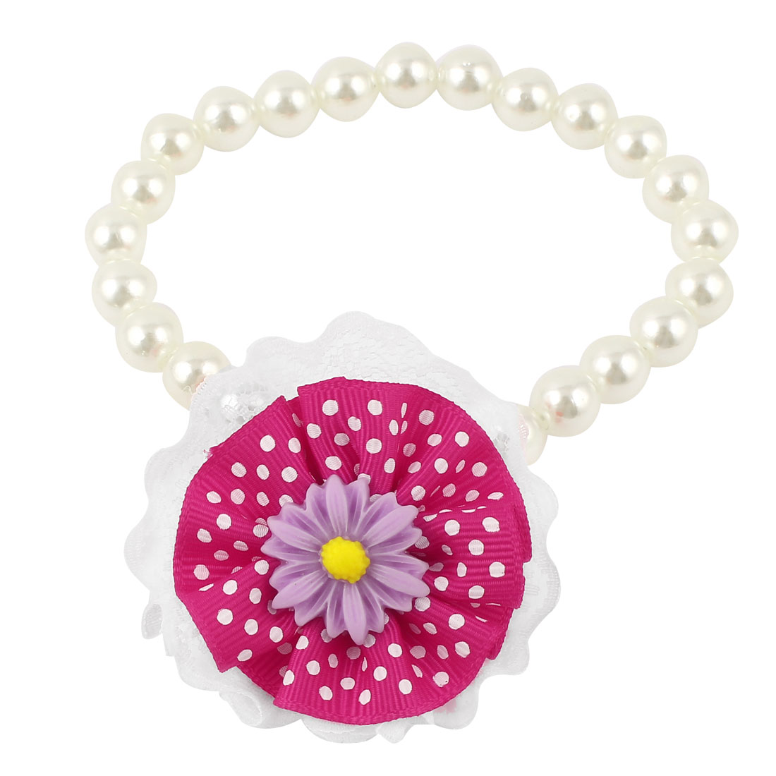 Lace Fuchsia Flower Accent Pet Dog Plastic Beads Imitation Pearls Collar Necklace White M
