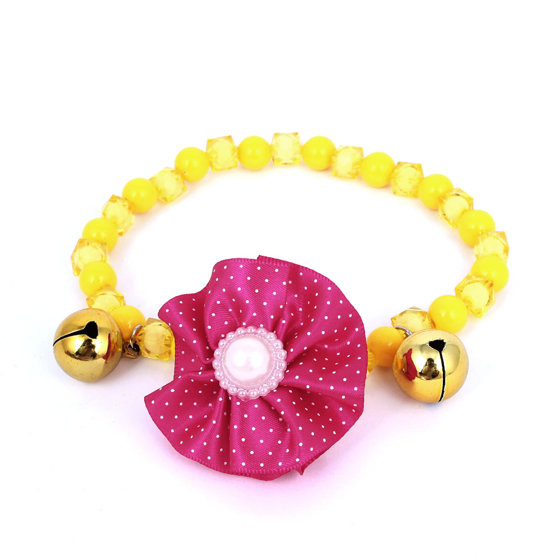 Metal Bell Pendant Pet Dog Doggy Plastic Beads Collar Necklace Yellow S