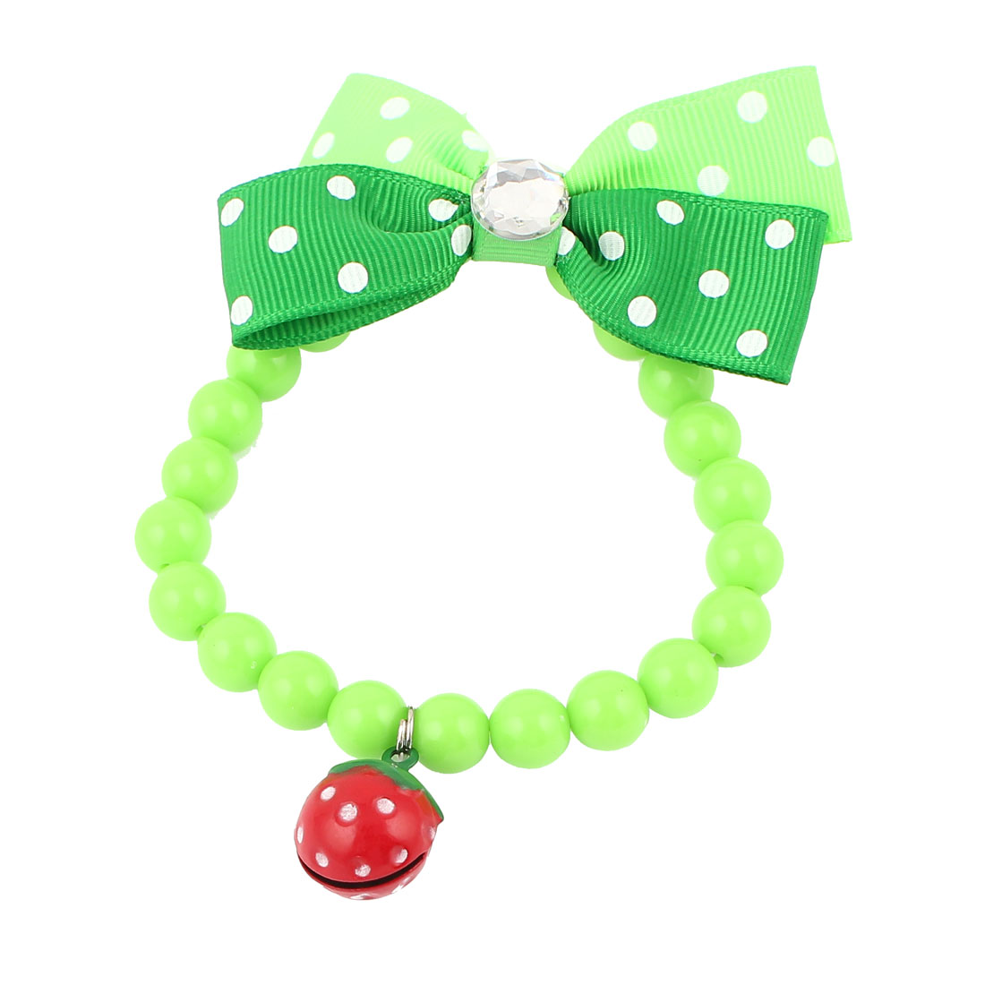 Metal Bell Pendant Bowtie Accent Pet Dog Plastic Beads Collar Necklace Green XS