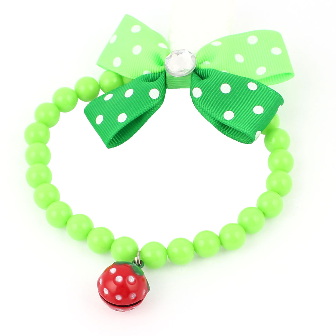 Metal Bell Pendant Bowtie Accent Pet Dog Plastic Beads Collar Necklace Green S