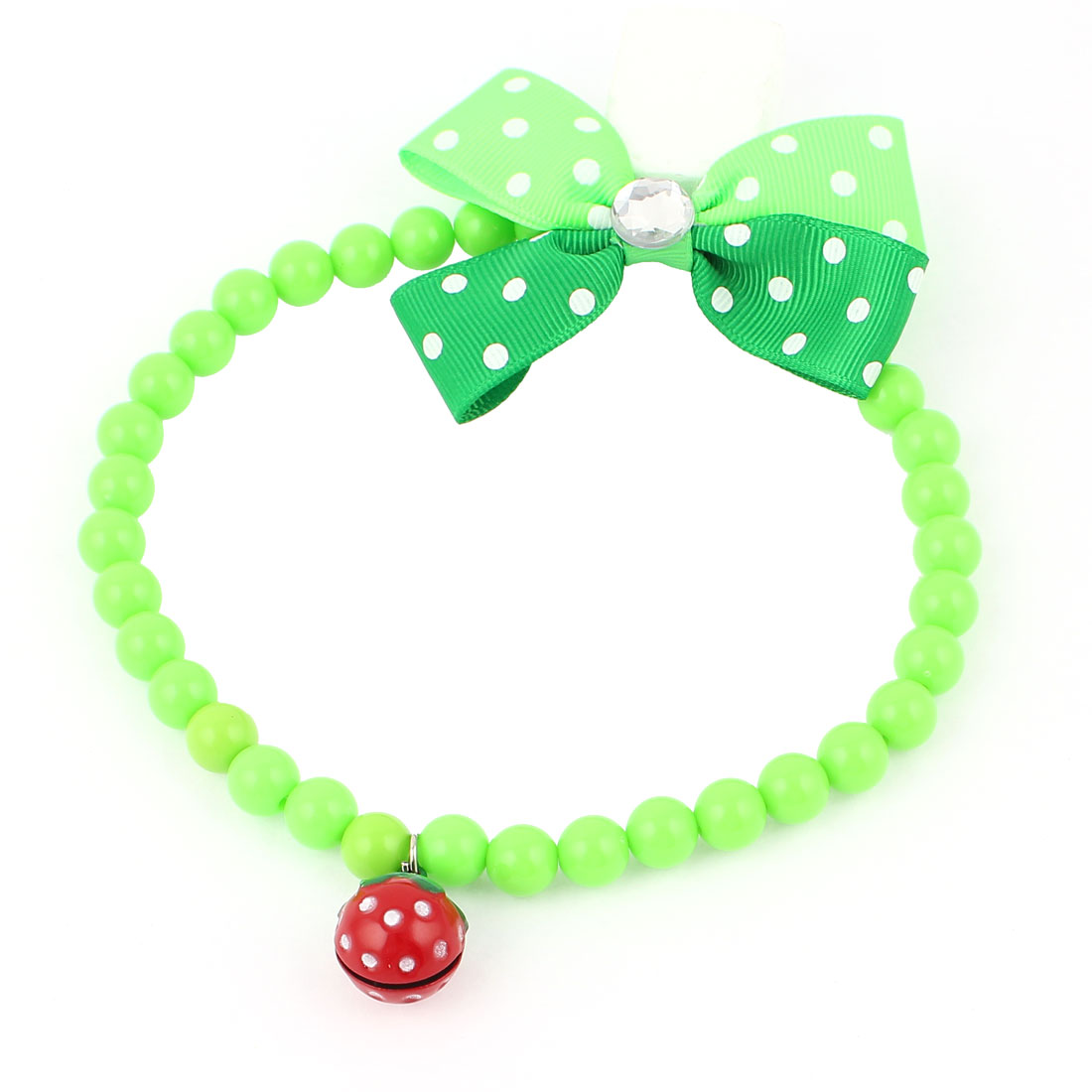 Metal Bell Pendant Bowtie Accent Pet Dog Plastic Beads Collar Necklace Green L
