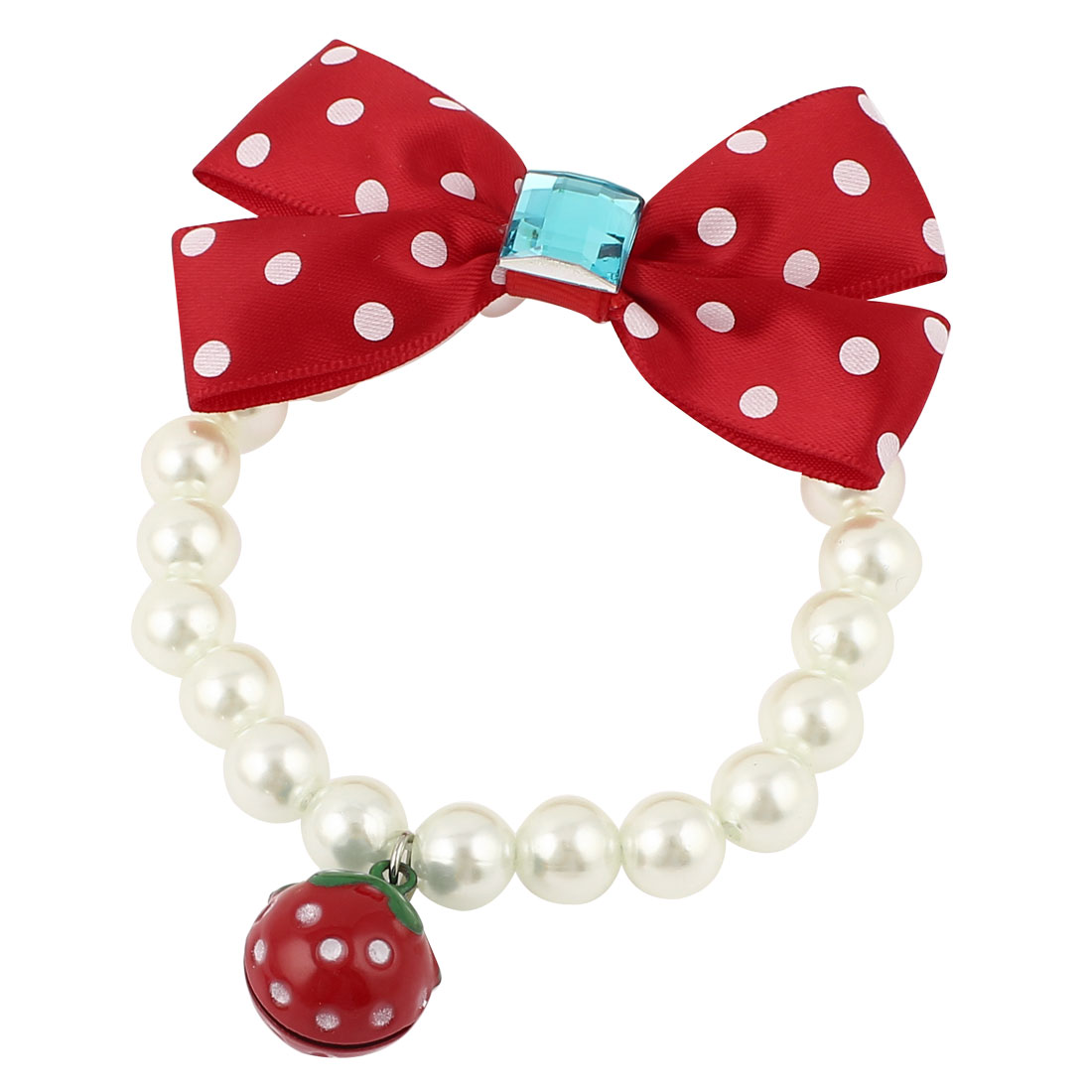 Metal Bell Pendant Bowknot Accent Pet Dog Plastic Beads Imitation Pearls Collar Necklace White Red XS