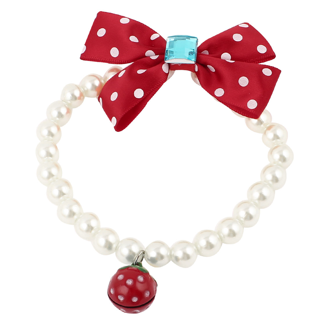 Metal Bell Pendant Bowknot Accent Pet Dog Plastic Beads Pearls Collar Necklace White Red S