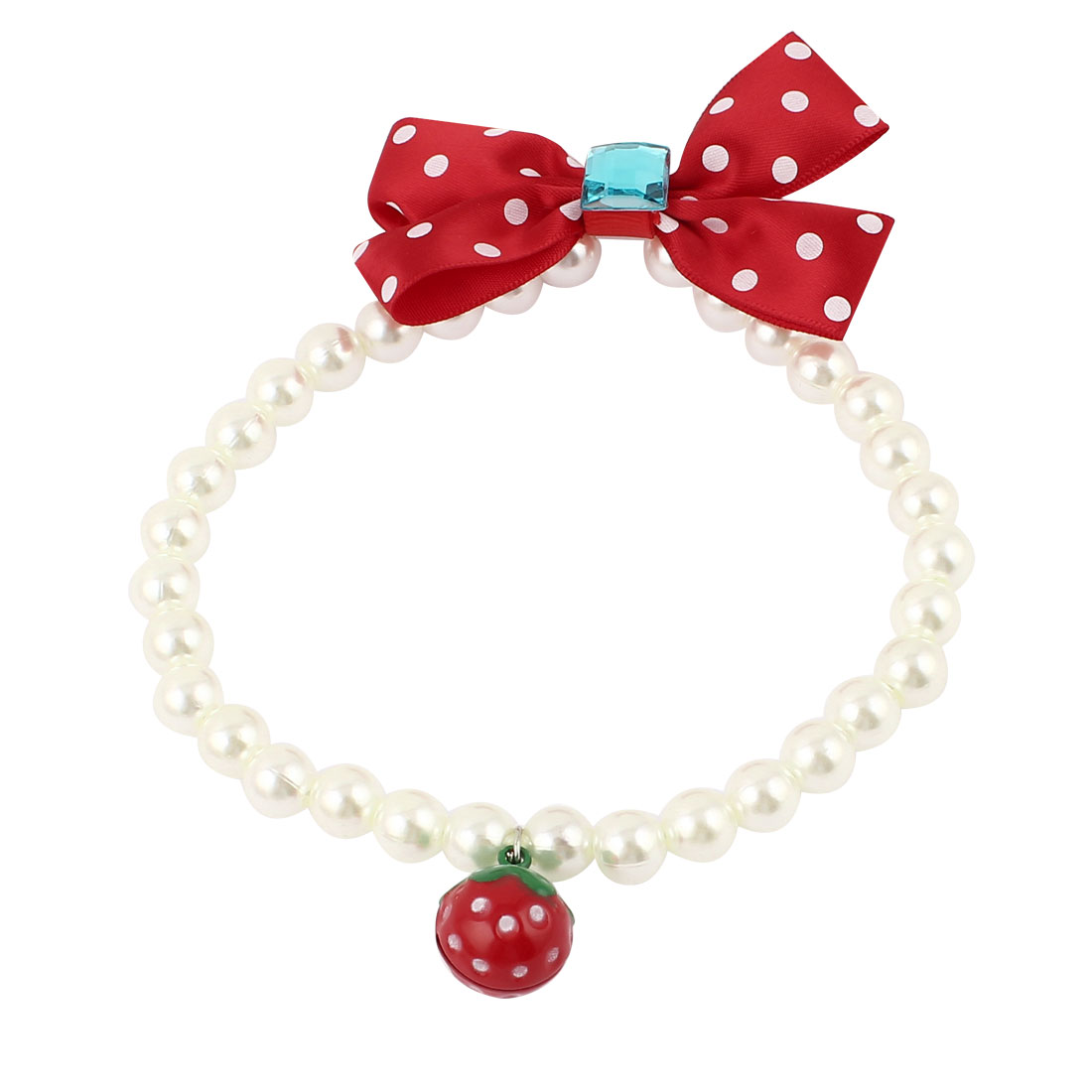 Metal Bell Pendant Bowknot Accent Pet Dog Plastic Beads Pearls Collar Necklace White Red M