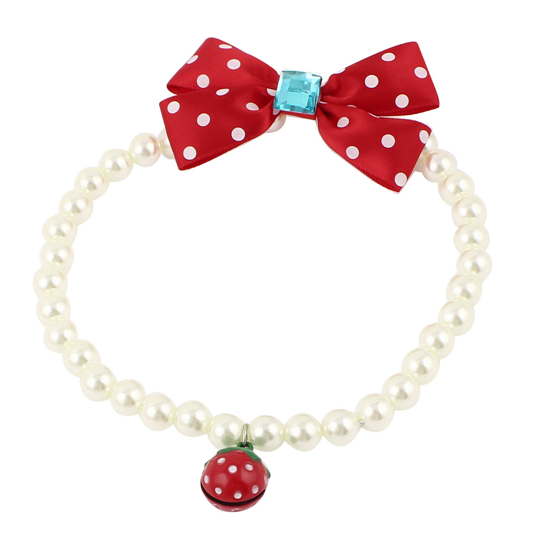 Metal Bell Pendant Bowknot Accent Pet Dog Plastic Beads Pearls Collar Necklace White Red L