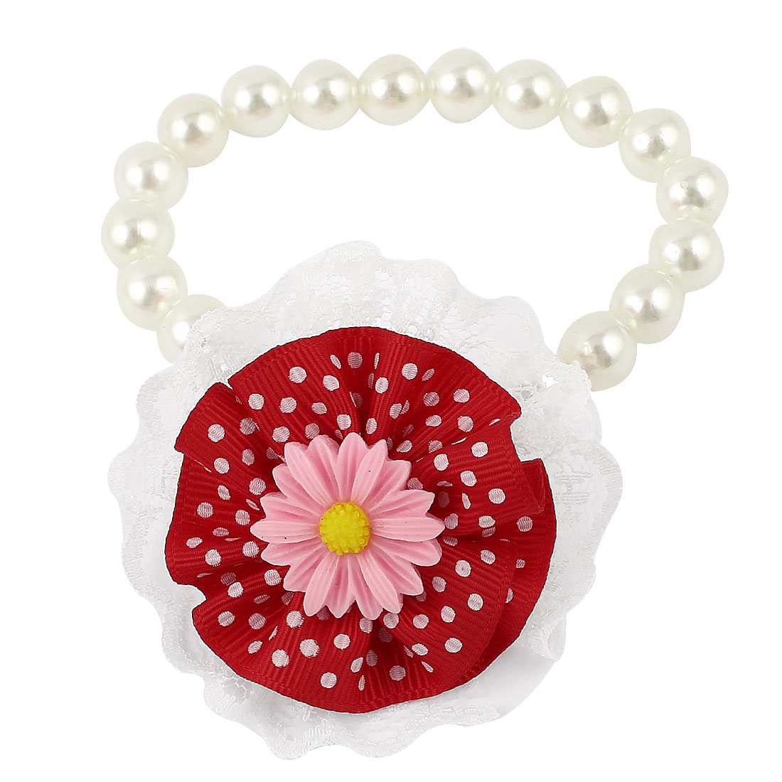 Lace Red Flower Accent Pet Dog Plastic Beads Pearls Collar Necklace White XS