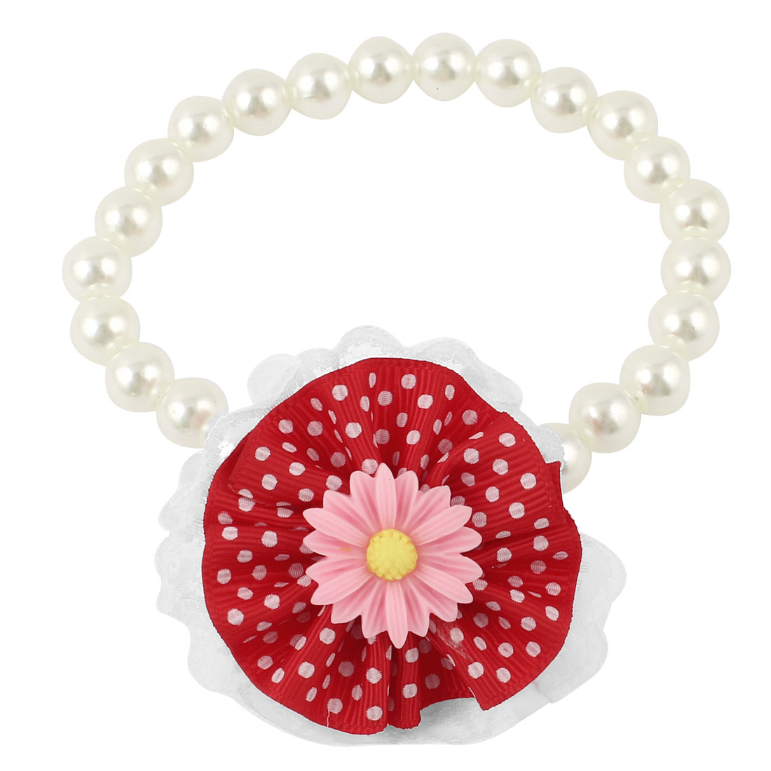 Lace Red Flower Accent Pet Dog Plastic Beads Pearls Collar Necklace White S