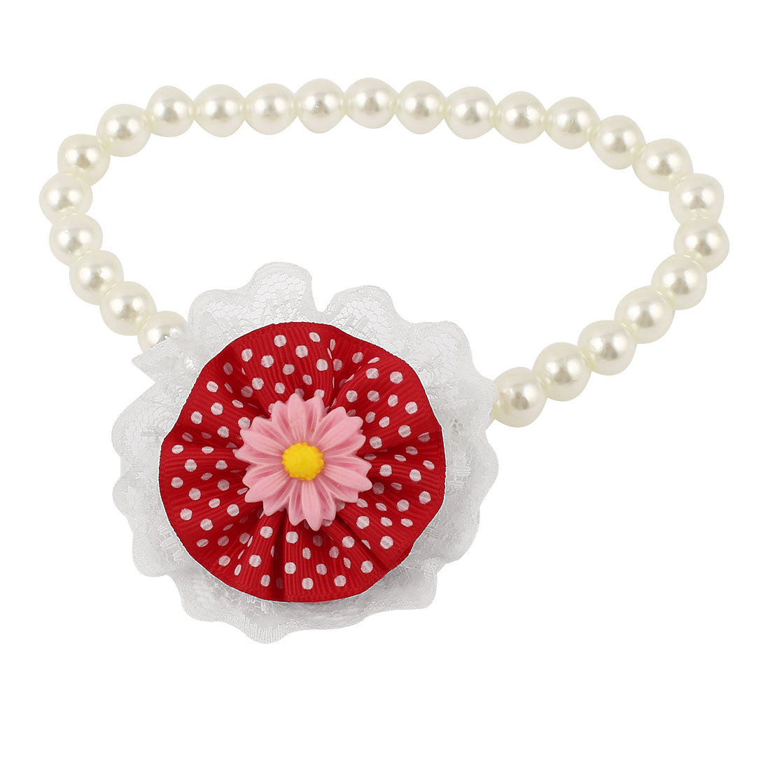 Lace Red Flower Accent Pet Dog Plastic Beads Pearls Collar Necklace White M
